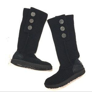 Ugg Women's Black Knit Cardy Boots Size 8
